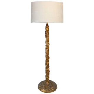 Gilt Mandarin Floor Lamp with Linen Drum Shade in the Manner of James Mont For Sale