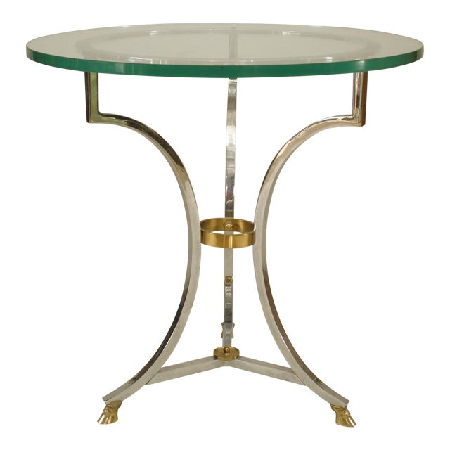 French Nickel and Glass End Table For Sale