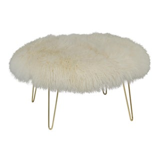 """Curly Hairpin Brass 36"""" Ottoman, Warm White For Sale"""