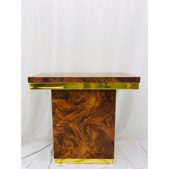 Vintage Modern Burl & Brass Table For Sale - Image 9 of 12