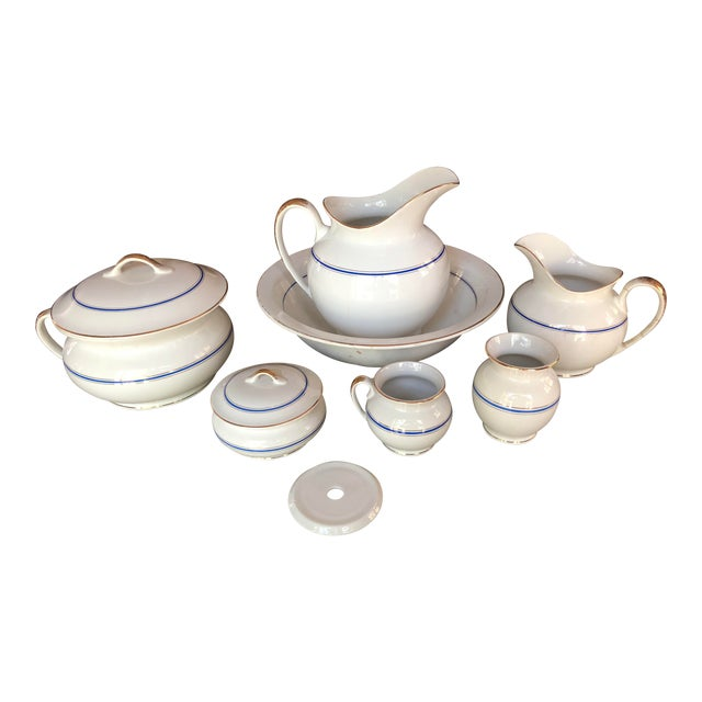 Antique Ironstone and Semi Porcelain Smith Phillips East Liverpool Ohio Empress Line Chamber Bathing Set of 10 For Sale