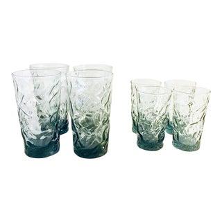 Vintage 1950s Faux-Bois Glassware in Steel Blue - Set of 8 For Sale