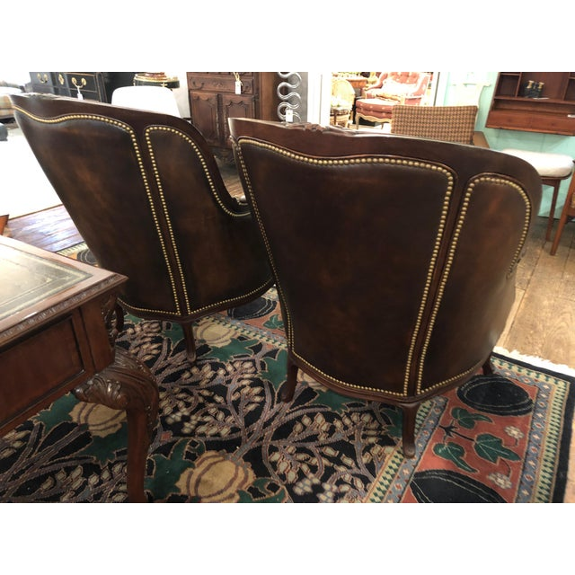 Tufted Burnished Leather Club Chairs - a Pair For Sale - Image 9 of 13