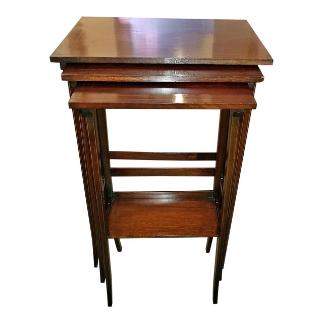 Early 20c British Mahogany and Inlaid Nest of Tables For Sale