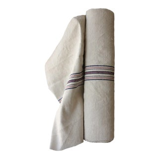 1900s Washed Linen Cotton Grain Sack Fabric - 9.3 Yards For Sale