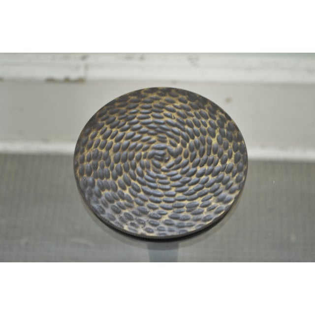 Hammered Brass Round Glass Top Pedestal Side Table For Sale In Philadelphia - Image 6 of 10