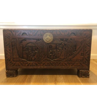 Antique Chinese Teak & Cedar Carved Chest Preview