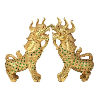 Vintage Pair of Gold Leaf Pi Yao/Pi Xiu Feng Shui to Attract Wealth For Sale