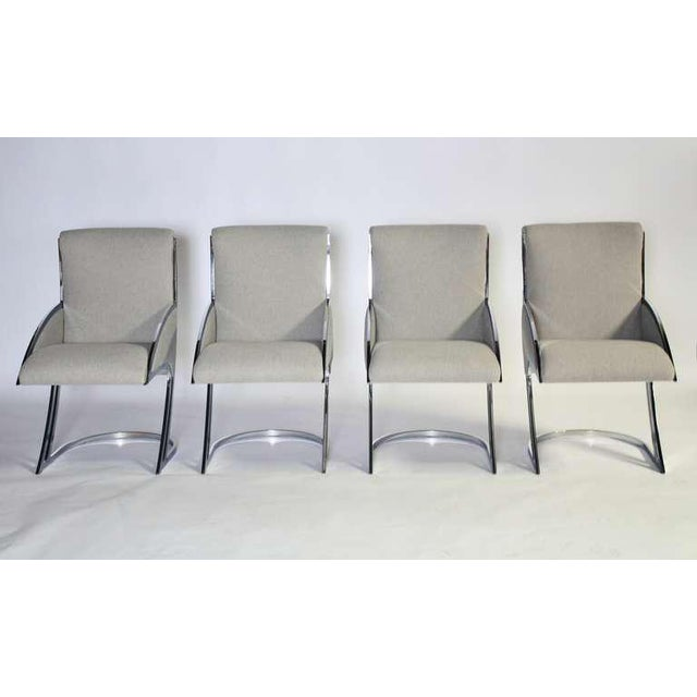 Mid-Century Modern Set of Four Chrome Dining Chairs For Sale - Image 3 of 9
