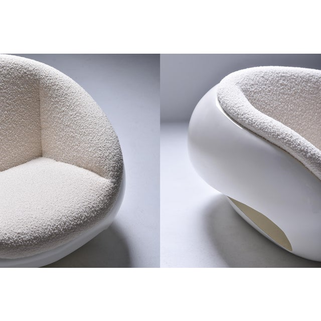 1960s Mario Sabot Sculptural Fiberglass Lounge Chairs in Bouclé - a Pair For Sale - Image 11 of 12