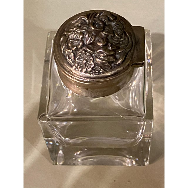 """Italian antique ink well with silver top. 2"""" Square x 3"""" High"""
