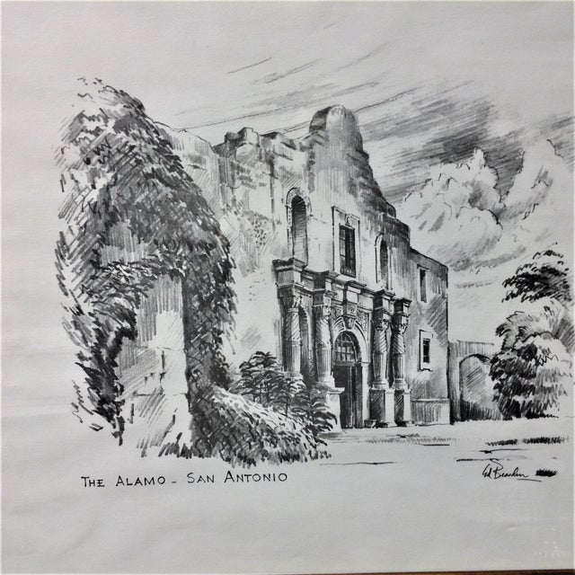 The Alamo by Edward Bearden This drawing by Edward Bearden was done in the early 50s. The drawing itself measures...