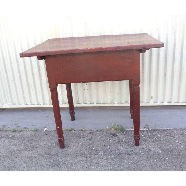 18thc Original Red Lift Top Tavern Table With Original Drawer - Image 7 of 10