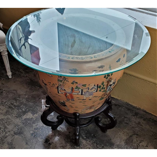 Large Chinese Fish Bowl Side Table With Stand For Sale - Image 4 of 13