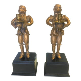 Edwardian Style Gold Monkey Courtier Candlestick Holders on Pedestals - a Pair For Sale