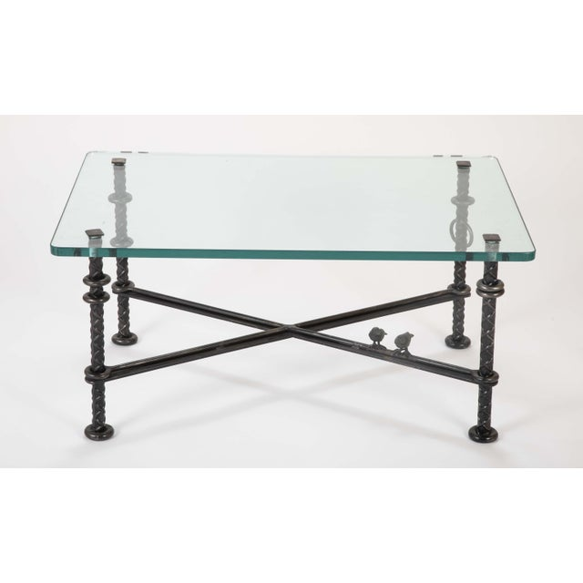 Transparent Patinated Wrought Iron Coffee Table by Llana Goor For Sale - Image 8 of 13