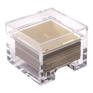 Shagreen Natural Coasters in Clear Box - Set of 8 For Sale