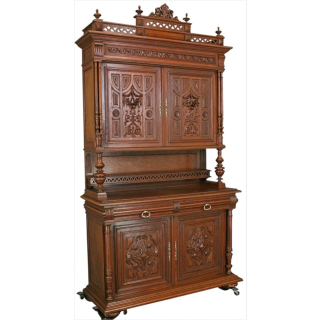 Antique Carved Oak French Henry II Hutch - Image 1 of 8