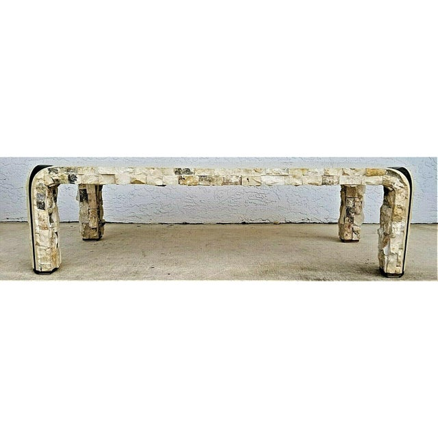 Contemporary 1980s Maitland Smith Tessellated Mactan Stone + Brass Coffee Table For Sale - Image 3 of 10
