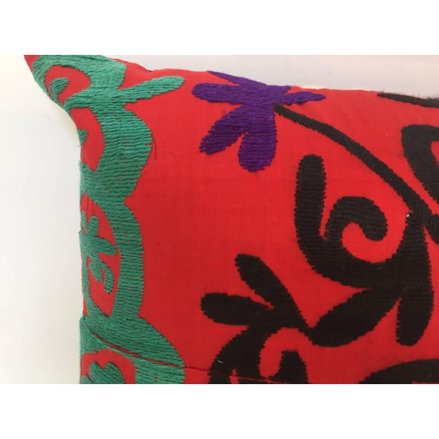 Early 20th Century Large Vintage Colorful Suzani Embroidery Throw Pillow From Uzbekistan For Sale - Image 5 of 10