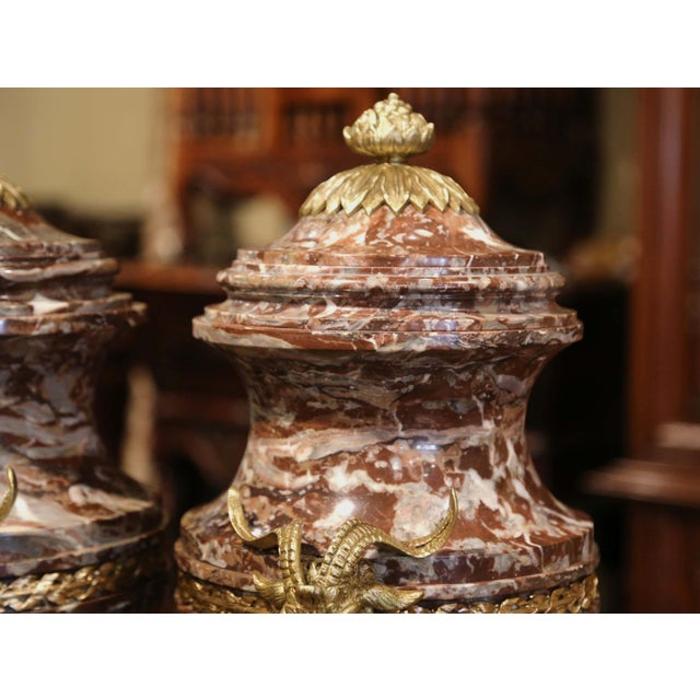 19th Century French Carved Variegated Marble and Bronze Cassolettes-A Pair For Sale - Image 10 of 12