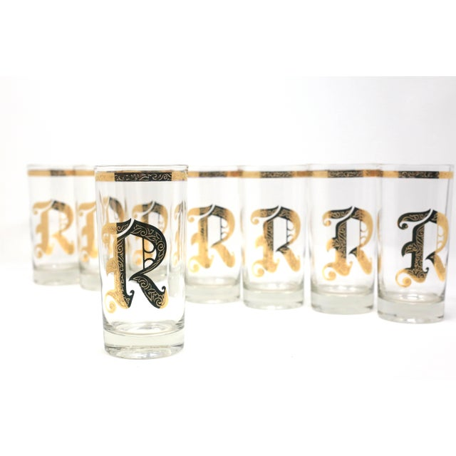 "1960s Vintage Gold Gilt ""R"" Glasses - Set of 8 For Sale - Image 5 of 13"