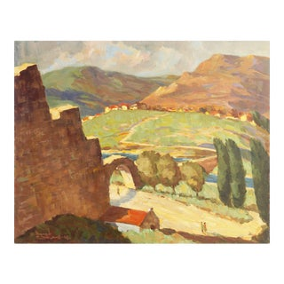 'Ramparts of Bologna Castle', by Frederick Korburg, American Post-Impressionist, 1967 For Sale