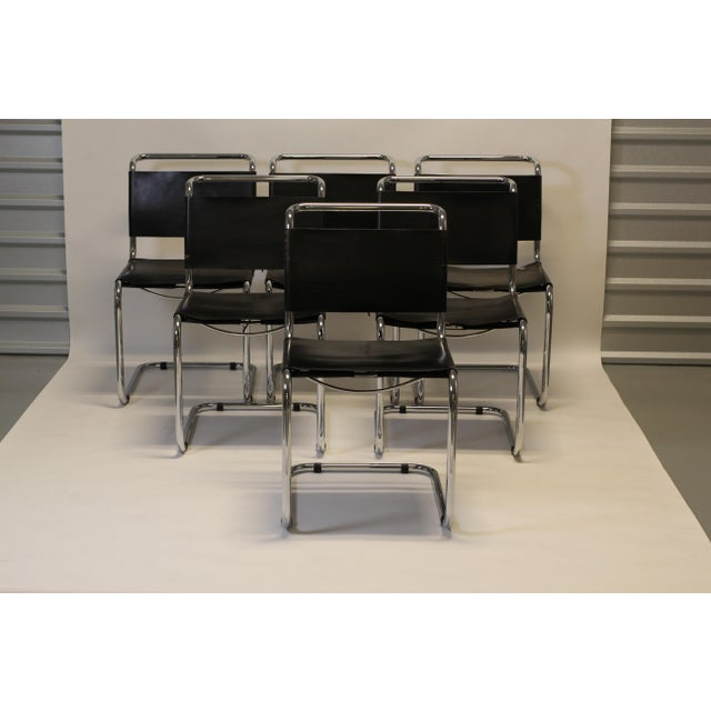"Classic Knoll Style / Mies Van der Rohe Style Cantilevered Chrome & Black Leather Dining Chairs ""Corset"" Tie Backs..."