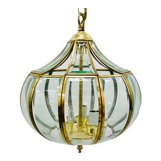 Vintage Brass & Glass Pendant Chandelier For Sale