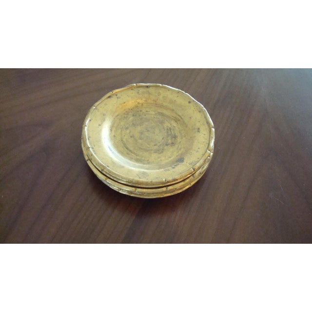 Vintage Brass Bamboo Style Coasters - Set of 6 - Image 5 of 6