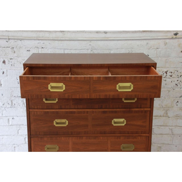 Baker Furniture Milling Road Campaign Style Highboy Dresser For Sale In South Bend - Image 6 of 10