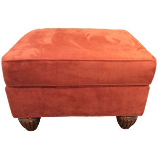 Orange Microfiber Ottoman For Sale