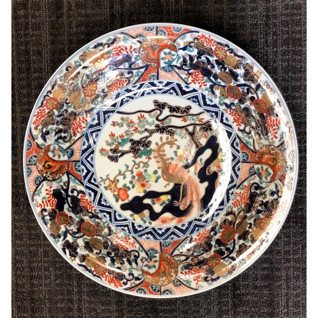 1950s Chinese Imari Style Hand Painted Charger For Sale - Image 5 of 7