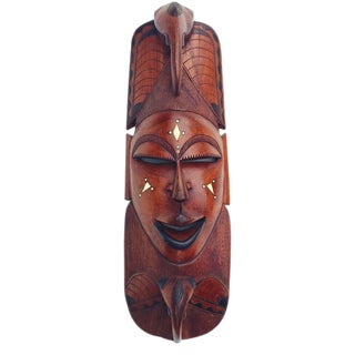 Vintage African Queen Wall Mask Tribal Wood Sculpture 30 inch