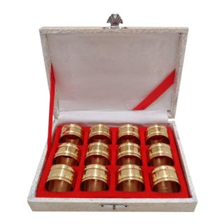 Mid Century Brass Napkin Rings & Case ~ Set of 12 For Sale