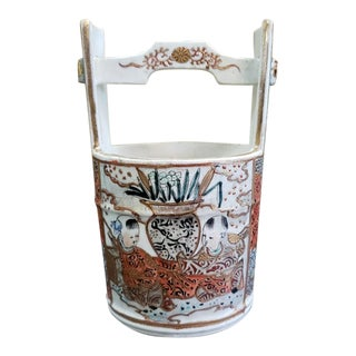 Late 19th Century Japanese Satsuma Porcelain Well Bucket, Meiji Period For Sale