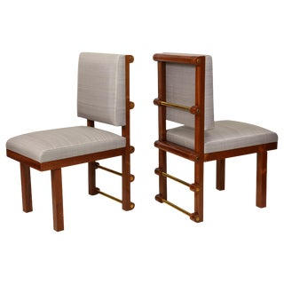 Bespoke Mahogany Library Chairs by Amir Khamneipur - a Pair For Sale