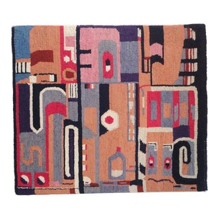 Abstract American Hand-Hooked Mounted Rug with Indian Design For Sale