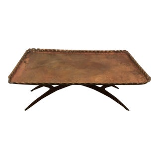 Mid Century Rectangular Brass Tray Coffee Table For Sale