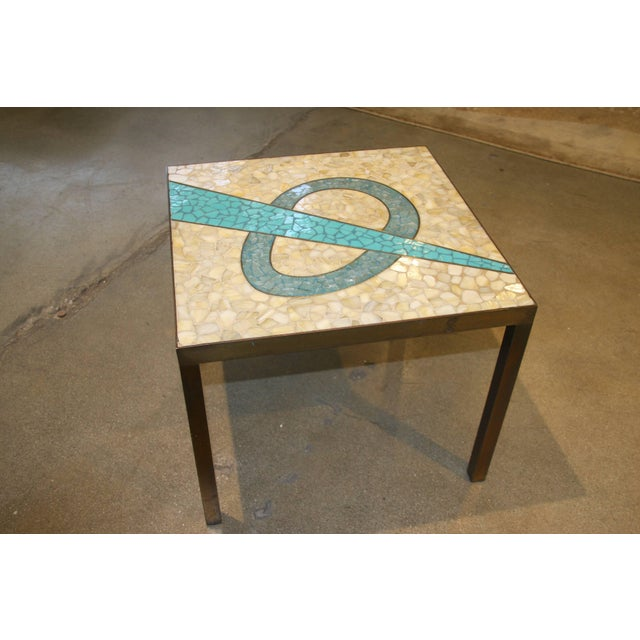 Tile Top Table With a Bronze Patinated Frame For Sale - Image 4 of 5