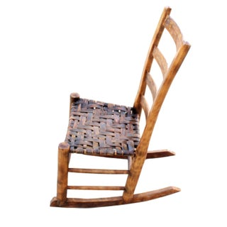 Late 19th Century Antique Rustic Wood & Rattan Accent Rocking Chair Preview