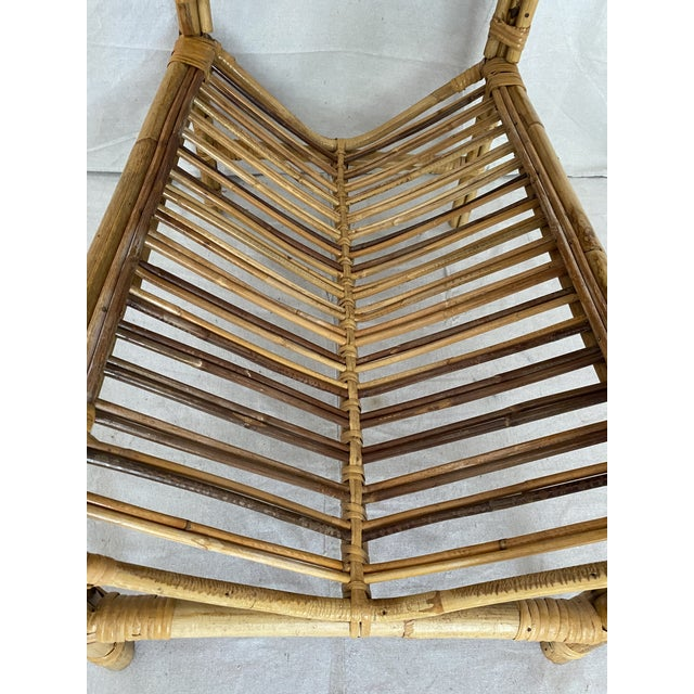 Vintage Rattan Wicker Side Table With Magazine Shelf For Sale - Image 9 of 13