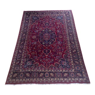 "1940s' Persian Meshed Wool Rug - 6'6""x10'1"" For Sale"
