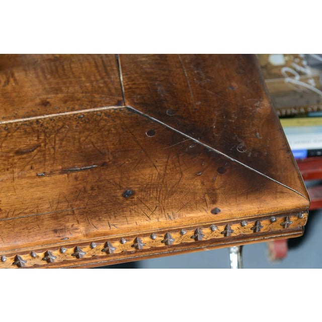 Late 19th Century French Antique Hand Carved Oak Wood Trestle Library Table For Sale - Image 5 of 12