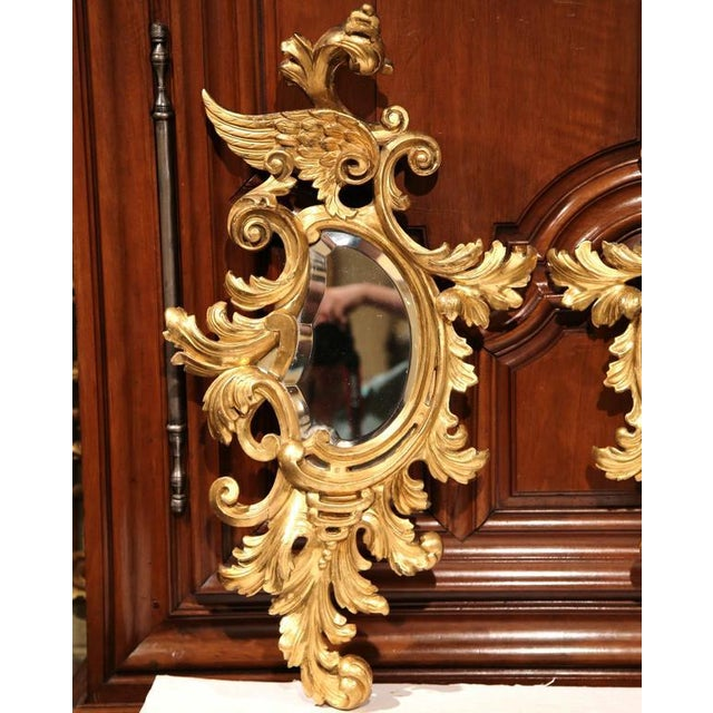 Mid-19th Century French Louis XV Carved Gilt Rococo Mirrors With Wings - A Pair For Sale - Image 9 of 9