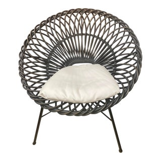 Palecek Zinnia Circle Rattan Lounge Chair For Sale
