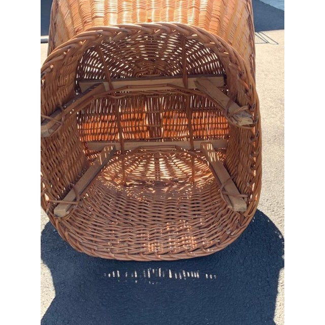 Vintage Mid Century Wicker Bucket Chair For Sale - Image 4 of 5