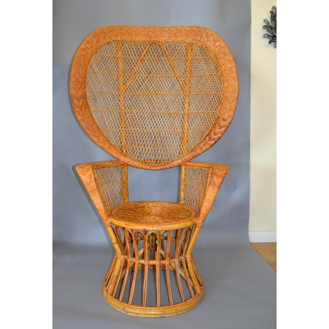 Vintage Boho Chic Handcrafted Wicker, Rattan and Reed Peacock High Back Chair For Sale - Image 12 of 13