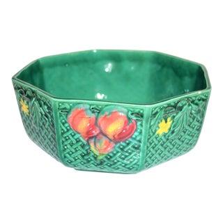 Vintage Melon Green German Majolica Serving Bowl For Sale