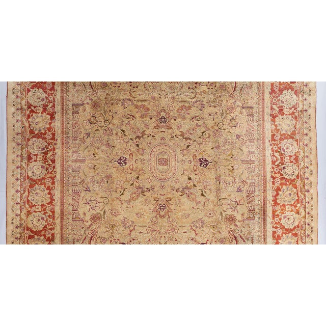 Mid 19th Century Beige Ground Indian Carpet For Sale - Image 5 of 8